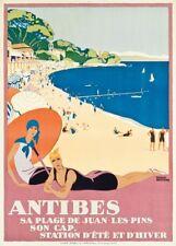 ANTIBES SA PLAGE DE JUAN-LES-PINS Vintage French Travel Poster. Art Deco Print