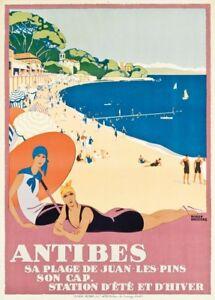 Antibes, Côte d'Azur, France, 1928, Vintage French Art Deco Travel Poster