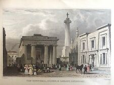 1830 stampa; Guild Hall, colonna e biblioteca, devonport