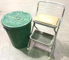Green Metal Trash Can & Step Stool Lot 3372