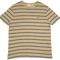 Lacoste Regular Fit Striped Womens Brown T-Shirt Size US XL