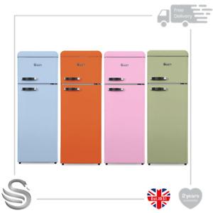 Swan Retro 208L Top Mounted Fridge Freezer Chrome Detail Glass Shelves & Drawer