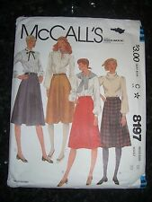 McCall's 8197 Skirts VINTAGE 1982 size 16