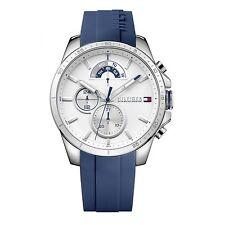 Tommy Hilfiger Mens Cronógrafo azul de goma blanco 1791349 relojes