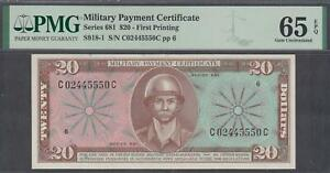 US MPC Military Payment Certificate $20  Note Series 681 Gem UNC PMG 65EPQ