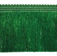Fransen 60 mm breit Grün  Fransenborte Posamentenborte Bordüre Decoband Brokat