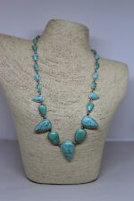 "NWOT Lucky Brand Turquoise Chunky Silver Necklace 21"" Teardrop Long Blue Stone"