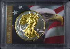 2018 Gilded American Silver Eagle .999 Bullion 1oz Ounce  Free Shipping 24k Gold