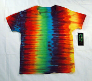 New Unisex Youth Tie-Dye T-Shirt - 100% Cotton Rainbow Stripe
