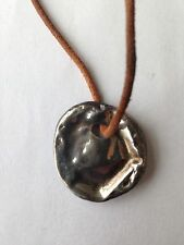 "ALLSAINTS - METAL BOTTLE CAP PENDANT ON LEATHER CORD 12"" Long - NWOT"