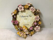 Collette Et Cie 3 X 3 Enamel Flowers And Butterfly Picture Frame