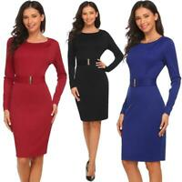 Women Round Neck Long Sleeve Pencil Elegant OL Solid Dress H1PS 05