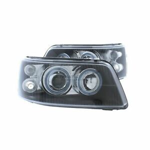 VW T5 2003-2010 Black Angel Eye Halo Projector Head Light Lamp Pair Left & Right