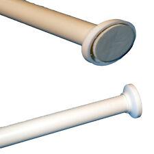 Telescopic White Shower Curtain Rail Extendable 125-220cm Pole Rod Bath No Tools