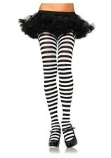 LEG AVENUE black and white striped stockings / pantyhose/ tights  (fits 40-70kg)