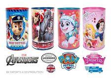 Kids Children Large Sealed Money Box Tin Marvel Avengers Princess Paw Patrol MLP