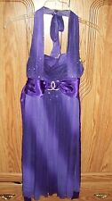 Girls Purple Halter Evening Dress