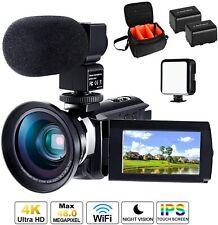 Cofunkool 4k Camcorder für YouTube mit Mikrofon Weitwinkel Objektiv