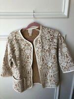 Women's CHICO'S Lace Overlay Open Jacket Blazer-Beige & Ivory-Size 00, 2