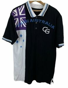 Coogi Australia Vintage Mens Size L Embroidered Spell out Logo Flag Polo Rugby