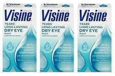 3 Pack Visine Tears Long Lasting Dry Eye Relief Lubricant Eye Drops 0.50 oz Each