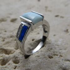 Size 8 3/4 (EU Size 59) Size 8.75 Blue LARIMAR FIRE OPAL Ring, 925 SILVER #0554