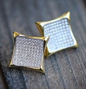 Two Tone 14K Gold And Rhodium Micro Pave Large Size Iced Kite Earrings For Men