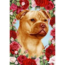 Roses Garden Flag - Orange Staffordshire Bull Terrier 192471