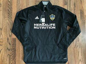 60 New adidas MLS Mens Los Angeles Galaxy 1/4 Zip Black Pullover Shirt Large