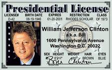President Bill Clinton Washington DC  ID card Drivers License It takes a Village