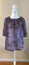 NWOT BURNING TORCH ANTHROPOLOGIE 100% SILK PRINTED TUNIC BLOUSE TOP ~BOHO~LARGE