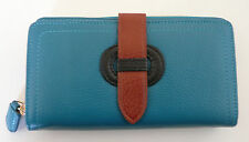 KC Jagger Wallet Clutch Teal Multi-Color Leather Photo Holder Organizer NEW