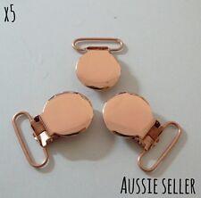 5 x Rose Gold Round Metal Dummy Pacifier Clips Steel Baby Craft Chain Binki 25mm