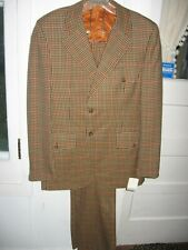 Vintage 1970 Ortego 2pc Green/Orange/Tan Pure Virgin Wool Suit-Norfolk Jacket