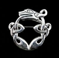Handcrafted Solid 925 Sterling Silver CELTIC Knot DRAGON Pin/Brooch