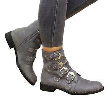 Ladies Womens Studded Buckle Ankle BOOTS Chelsea Biker Punk Strappy Shoes Size UK 5 / EUR 38 / US 7 Dark Grey Casual Jordyn