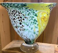 Fine Large Studio Art Glass Footed Flaring Bowl Vase