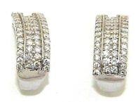 Ladies womens beautiful 9carat 9ct white gold earrings set with 96 diamonds