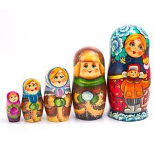 Russian Doll Nesting Doll Matryoshka Made in Russia 7'' Hand Painted 5 pcs