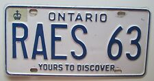 Ontario 1997 VANITY License Plate RAY'S 63