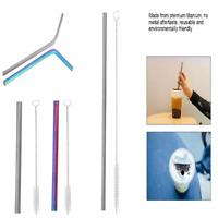 Titanium Reusable Straw Set Portable Drinking Replacement Straws Straight/Bent