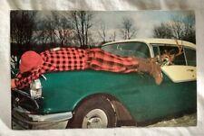 Humor Deer Driving Hunter on 1950s Car Hood Pennsylvania Postcard