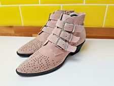 Ladies River Island Pink Buckle Leather Suede Cowboy Ankle Boots Size 5 / 38