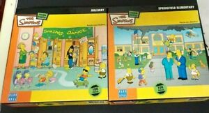 Blue Opal The Simpsons 2 x 100 Piece Jigsaws - Springfield Elementary & Hallway.