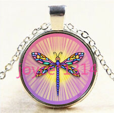 Vintage Dragonfly Cabochon Tibetan silver Glass Chain Pendant Necklace #5963