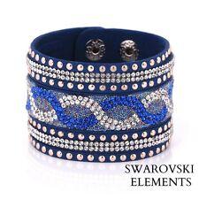 Bracelet large manchette Swarovski® Elements cuir souple de qualité bleu saphir