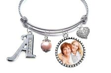 Gift for Mom Bangle Bracelet with Personalized Photo & Initial