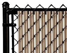 Chain Link Beige Single Wall Ridged™ Privacy Slat For 4ft High Fence Bottom Lock