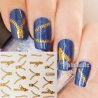 Fashion Zip Fastener Zipper Nail Art Water Decal Transfer Stickers DIY