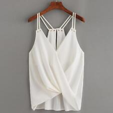 Women Casual Sleeveless Crop Top Vest Tank Shirt Loose Chiffon Blouse Cami Tops